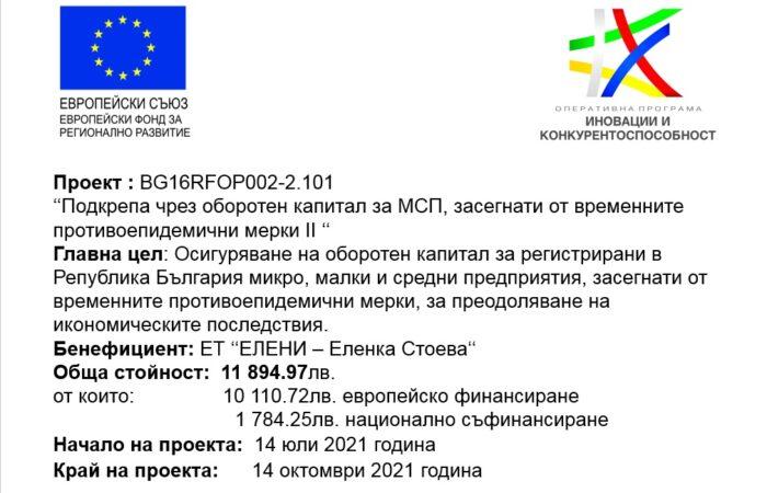 Подкрепа чрез оборотен капитал за МСП, засегнати от временните противоепидемични мерки II